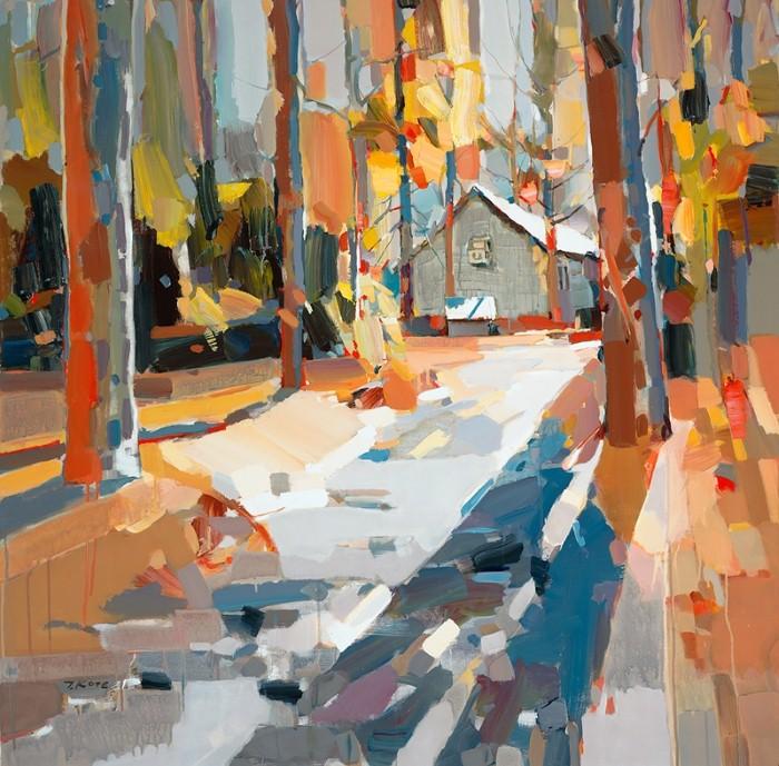 осень лес дом деревья свет лучи солнца витраж картина мозаика живопись маслом необычная техника мастихин как рисовать обучение алексей жуков курсы живописи артмуза рядом с метров абонементы пойти рисовать