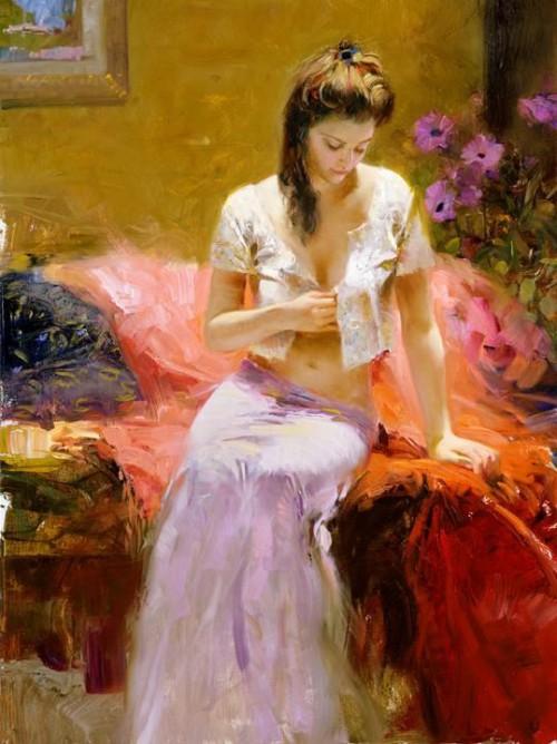 красный охра сиреневый белый романтический образ картина портрет женщина пион даэни художники италии галерея музей выставка лофт рисовать как радость вдохновение записаться на занятие курсы живописи алексей жуков артмуза