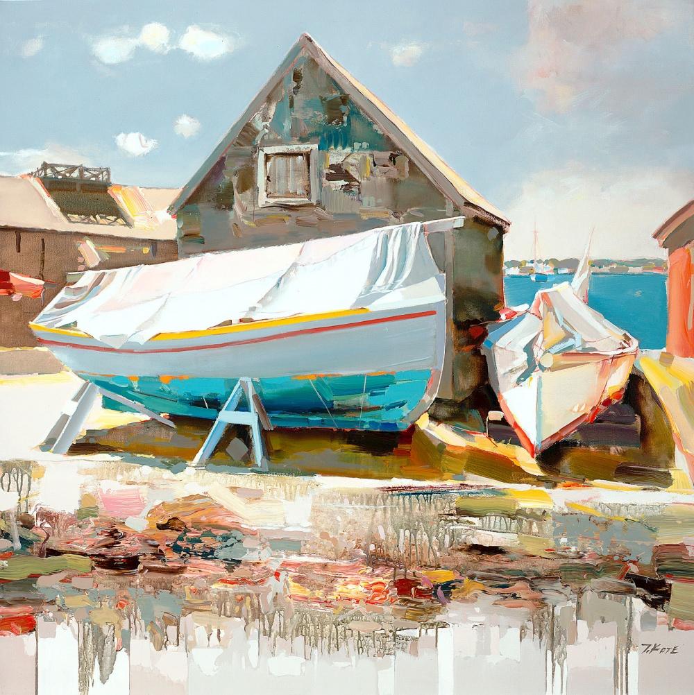 лодка доки порт небо море пейзаж картина маслом джозеф коте средиземное море живопись импрессионизм современное искусство мастихин алексей жуков