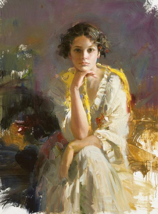девушка нежность фиолетовый золотой белый образ женщина искусство pino daeni самореализация как рисовать человека портрет на заказ курсы живописи
