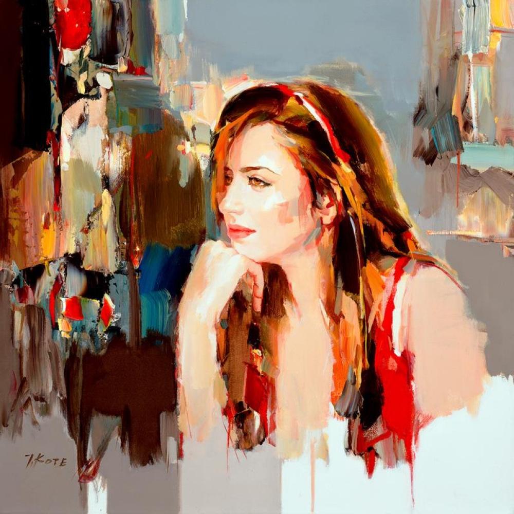 задумчивая девушка в красном на фоне города пейзаж вид из окна мастер-классы что взять на занятия по живописи обучение с нуля артмуза студия спб