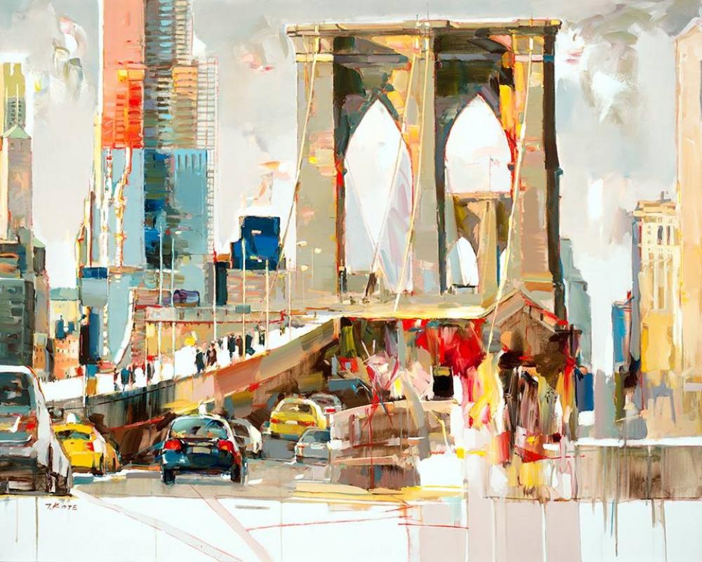ворота мост машины небоскребы городской пейзаж современная живопись поп-арт академизм реализм ар нуво красивая картина обучение живописи и рисунку