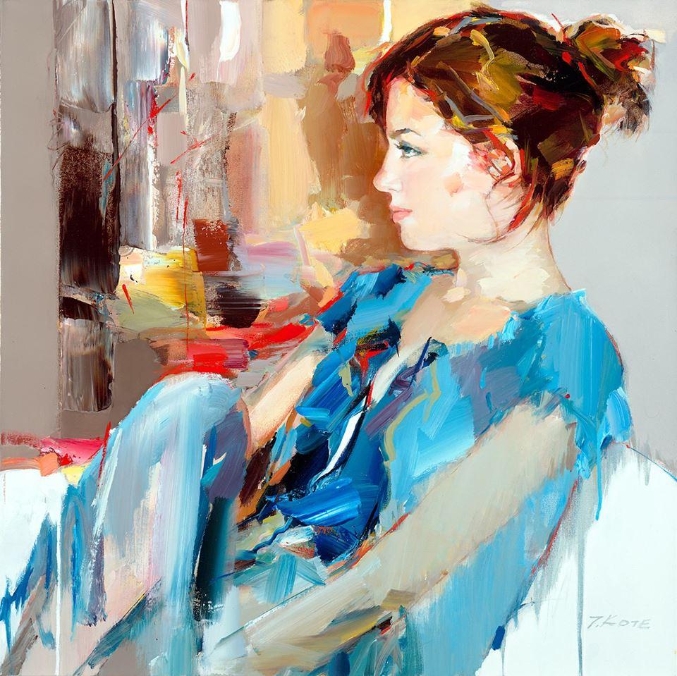 девушка в голубом бежевый серый красный картина маслом портрет в профиль по фото с натуры заказать роспись спб петербург арт школа васильевский остров