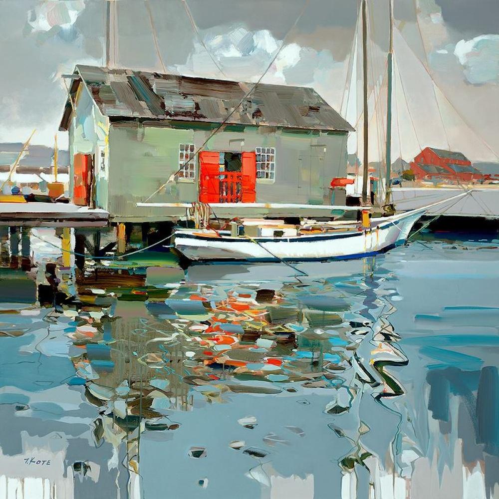 пирс лодка рыбаки домик небо средиземное море вода живопись мастихином как рисовать научиться рисовать маслом обучение курсы живописи алексей жуков спб петербург
