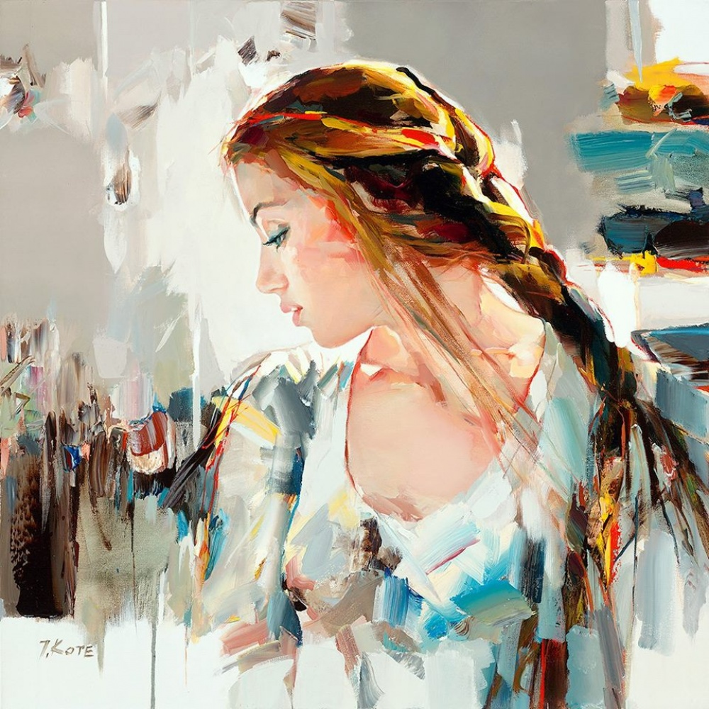 девушка платье волосы коса нежный женственный образ джозеф коте необычный художник живопись мастихином обучение авторская программа креатив самореализация курсы живописи спб