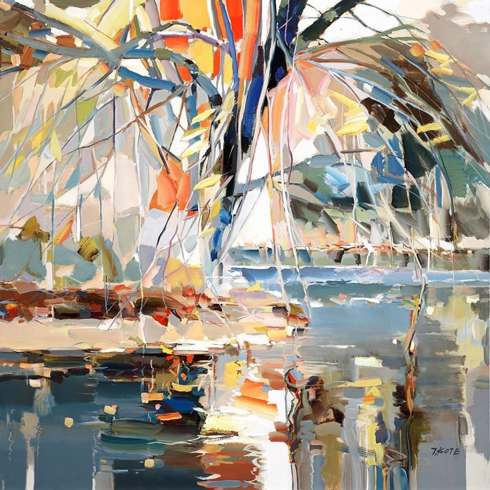 пальма море пейзаж картина маслом витраж живопись мастихином хобби как научиться рисовать как стать художником основы рисования алексей жуков курсы школа занятия