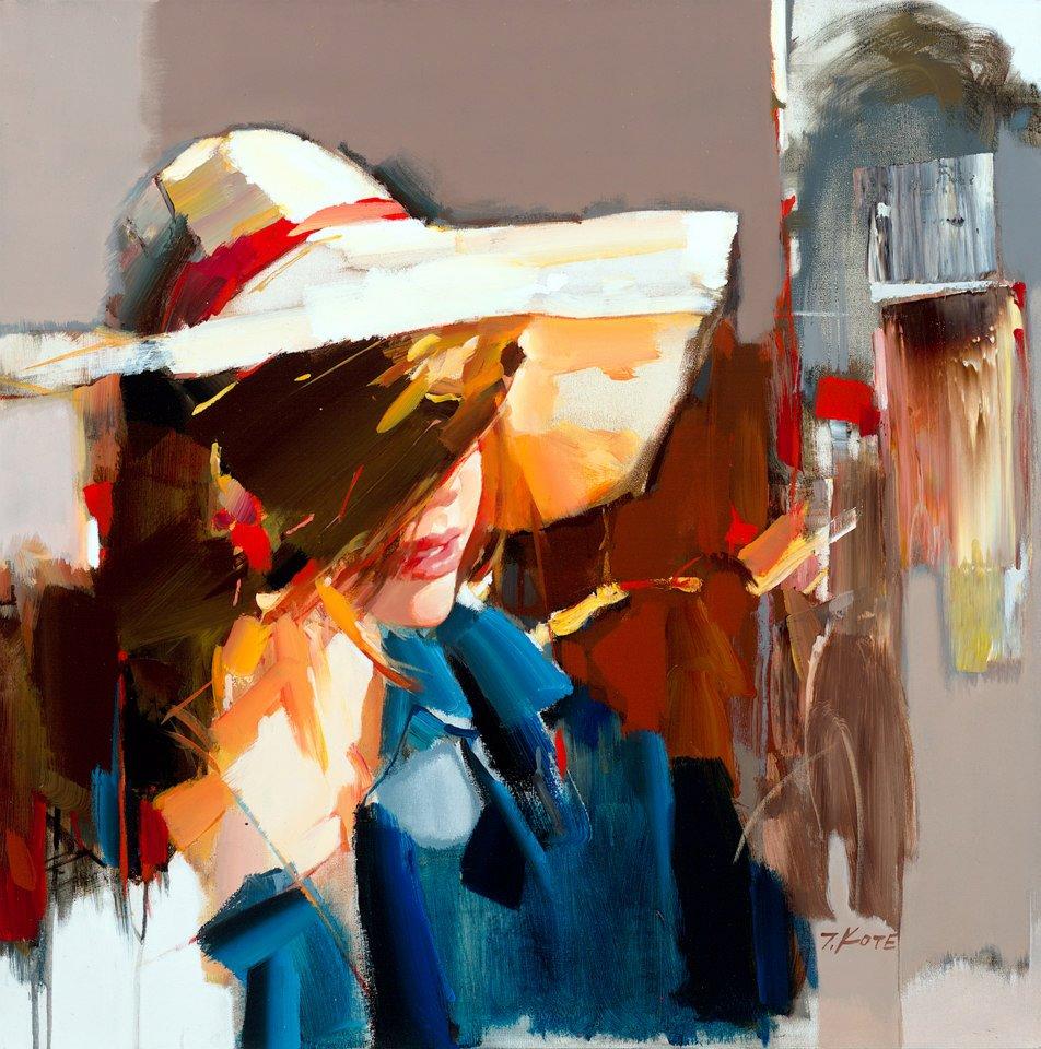 девушка в шляпе портрет живопись мастихином красивая картина джозеф коте красота изящество вдохновение мастерская петербург васильевский остров пойти рисовать