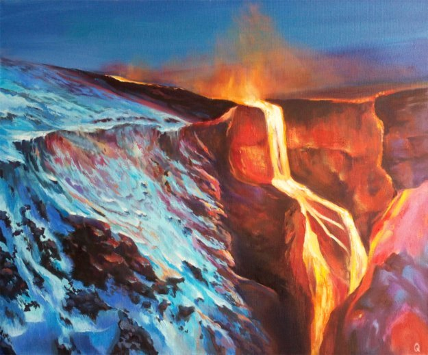 лава скалы горы снег ручей небо север холод эпическая картина живопись маслом стихия природа творчество искусство как рисовать пейзаж поэтапно видеоуроки индивидуальные занятия арт студия курсы живописи