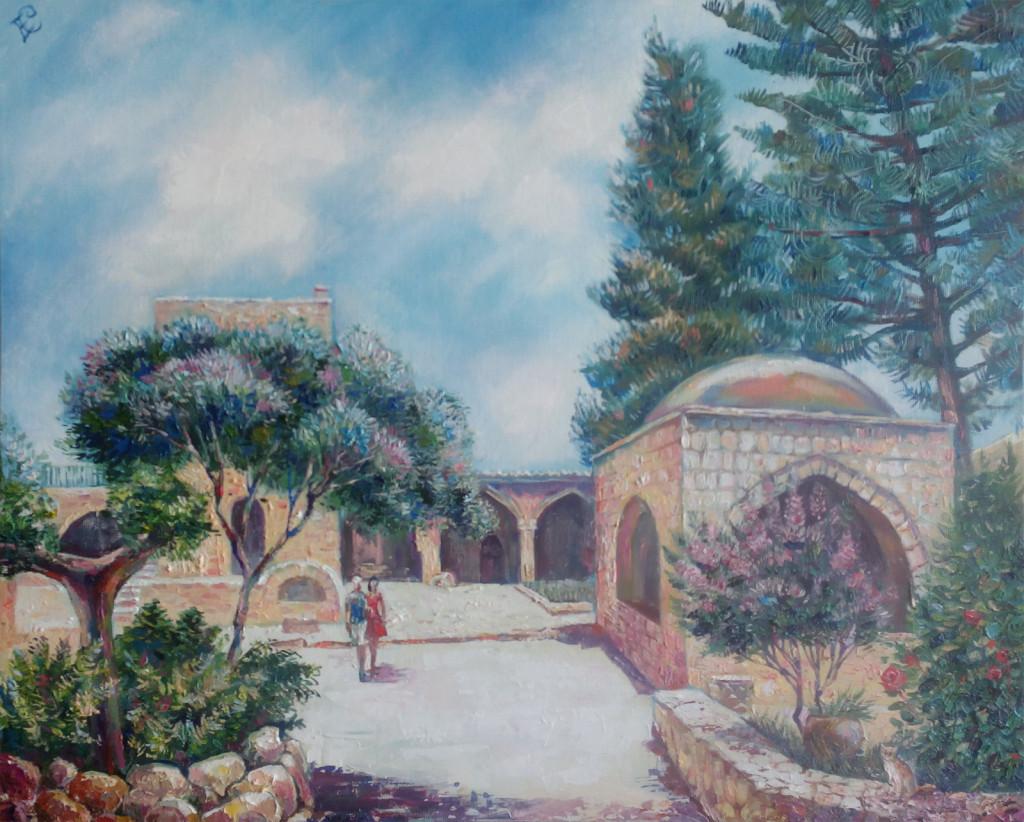 кипр греция пейзаж крит небо архитектура античность средиземноморье живопись маслом как рисовать пейзаж картина в подарок пойти рисовать арт студия на в.о. спб питер алексей жуков