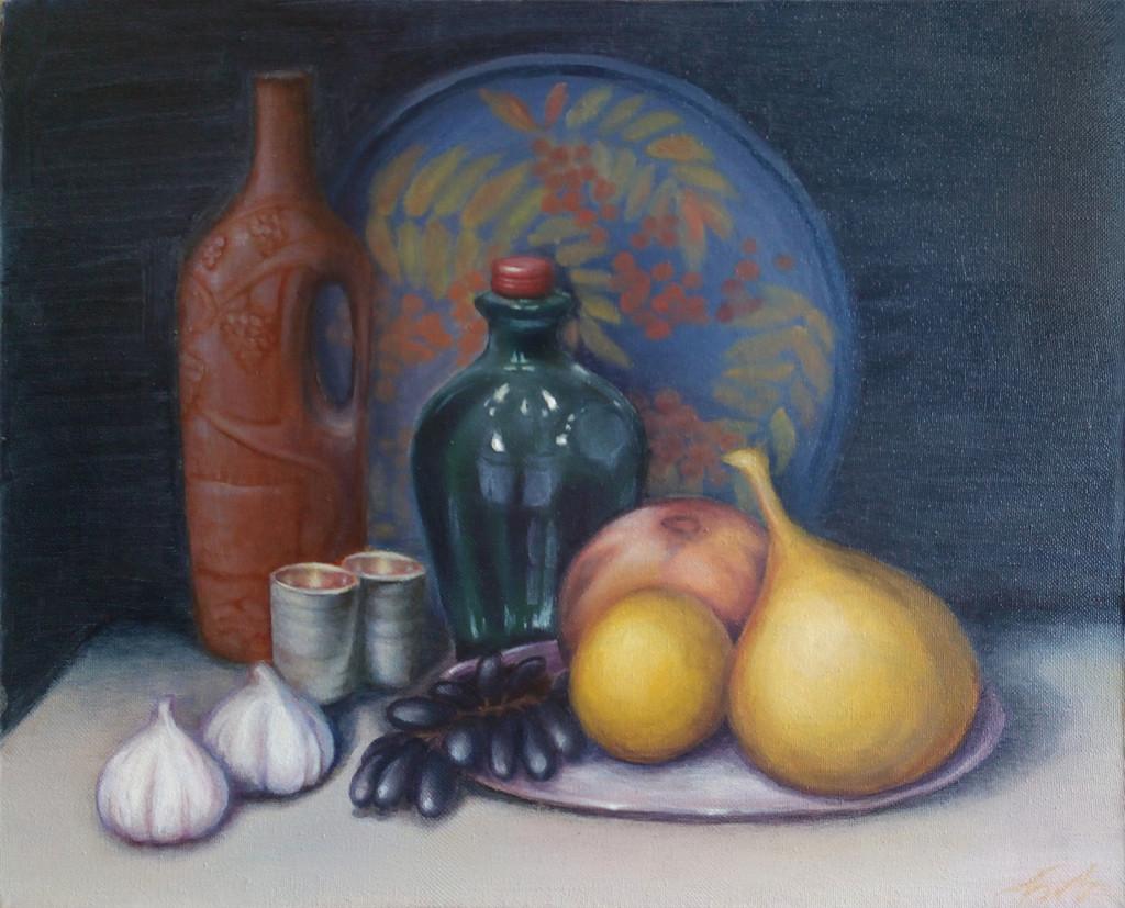натюрморт фрукты бутылки поднос кувшин живопись маслом академизм классическая школа живописи рисование для начинающих лучшая студия в петербурге отзывы цены как проходят занятия абонементы алексей жуков спб в.о. василеостровская