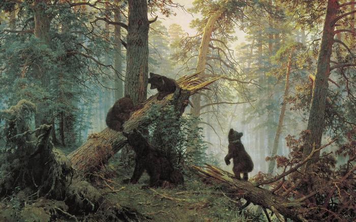 shishkin шишкин лес медведи картина маслом русский музейэрмитаж лувр как рисовать пейзаж медведь животные пособие поэтапно видеоуроки вебинары мастер-классы
