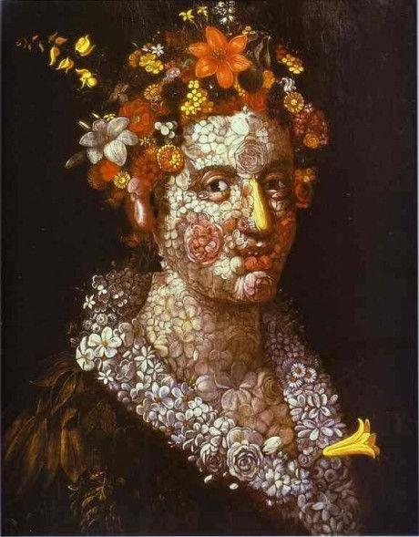 flora флора богиня античное искусство мифы джузеппе арчимбольдо сюрреализм художник прикольные картинки юмор смешное в искусстве портрет из цветов