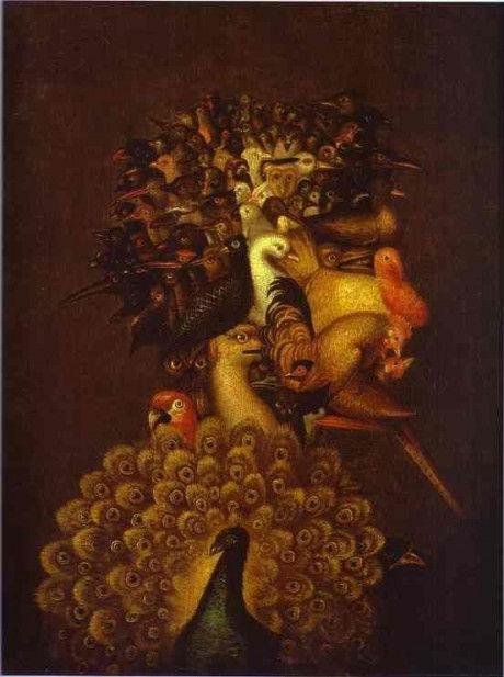 стихия воздух серия картин джузеппе арчимбольдо птицы звери портрет натюрморт сюрреализм художник купить живопись роспись картина в интерьер портрет по фото