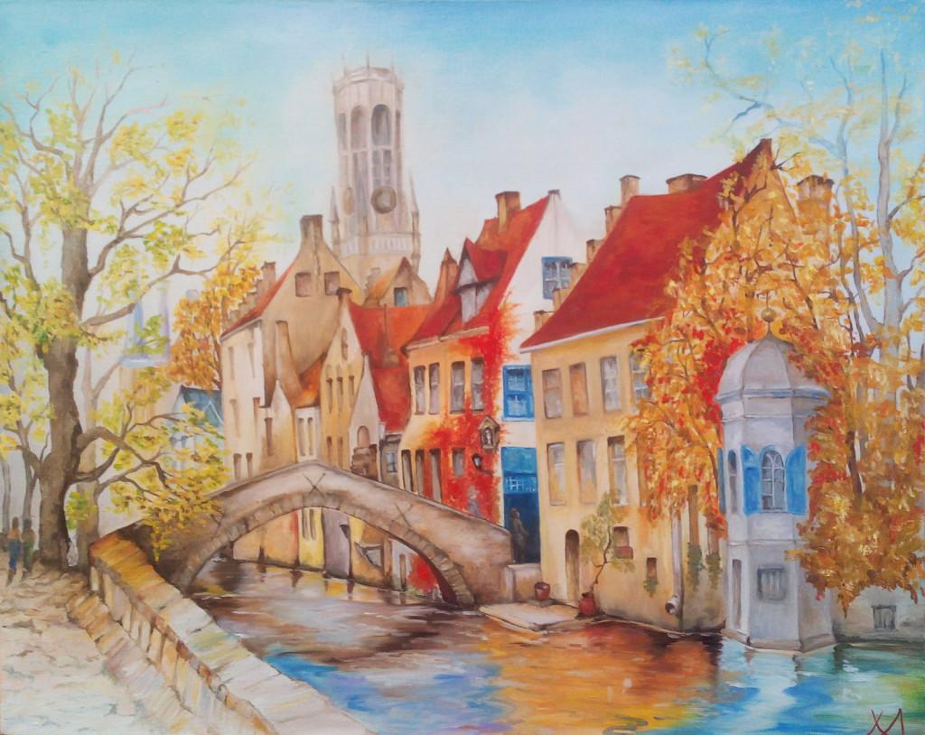 брюгге бельгия старый город улица канал мост башня дома европа живопись картина маслом работы учеников студия арт-школа вдохновение нарисовать картину
