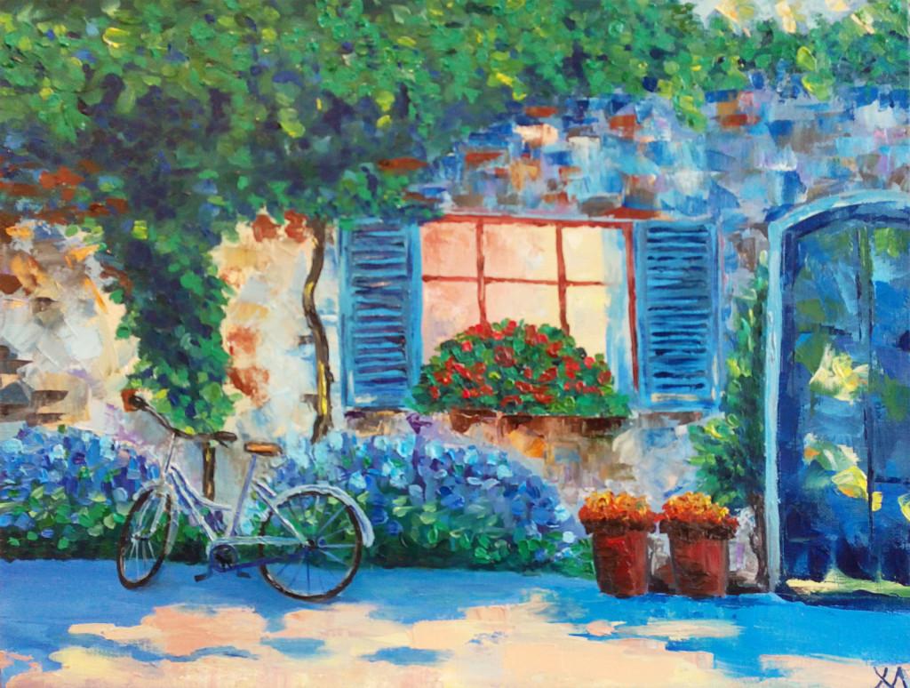 улица двор кашпо уют велосипед юг плющ стена картина маслом окно ставни красивая картина живопись современное искусство художники жанры живописи стили обучение курсы живописи