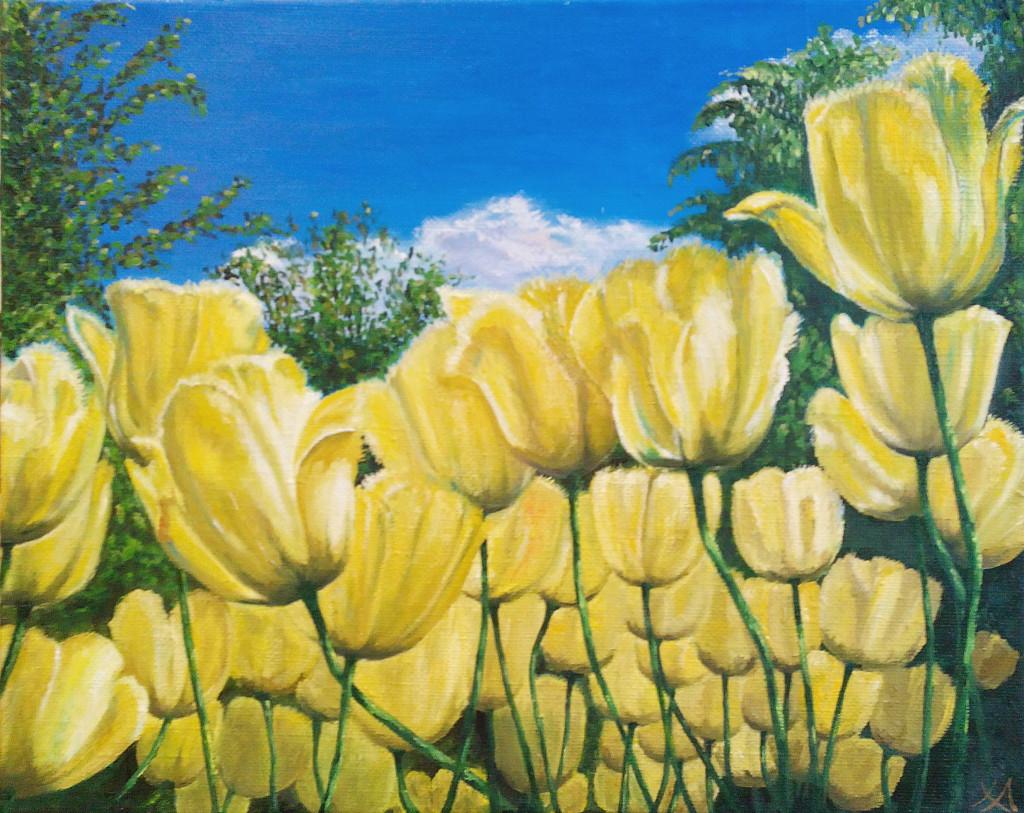 цветы тюльпаны небо облака деревья пейзаж гармония покой картина маслом как рисовать цветы живопись мастихином палитра мольберт кисти краски алексей жуков курсы живописи