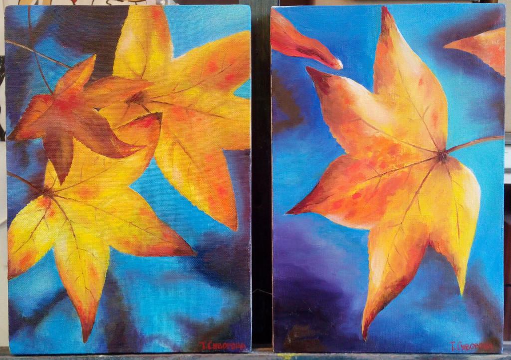 диптих декоративная живопись листья осень реализм арт-школа гибкий график центр города васильевский остров яркая картина артмуза