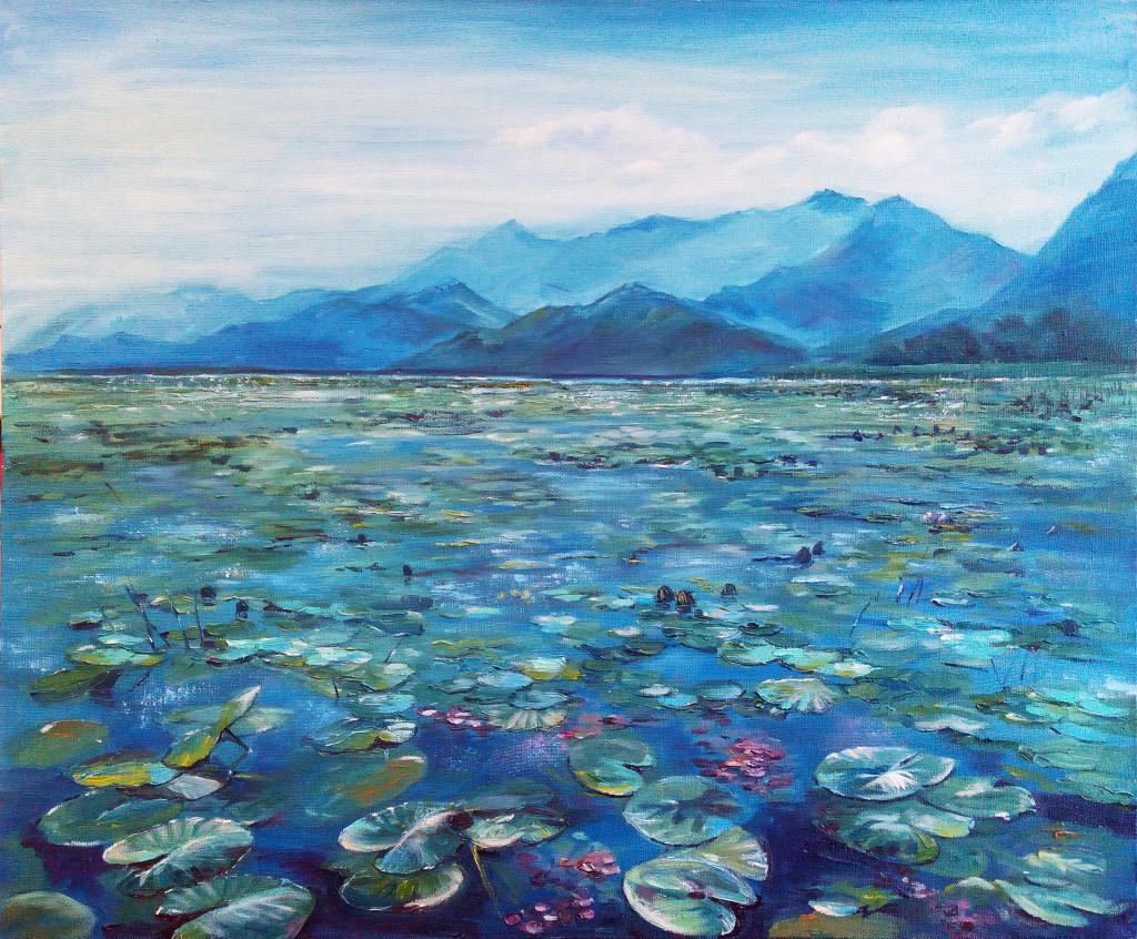 черногория озеро кувшинки моне авторская живопись горы небо как рисовать пейзаж маслом холст краски палитра живопись мастихином придти рисовать спб артмуза