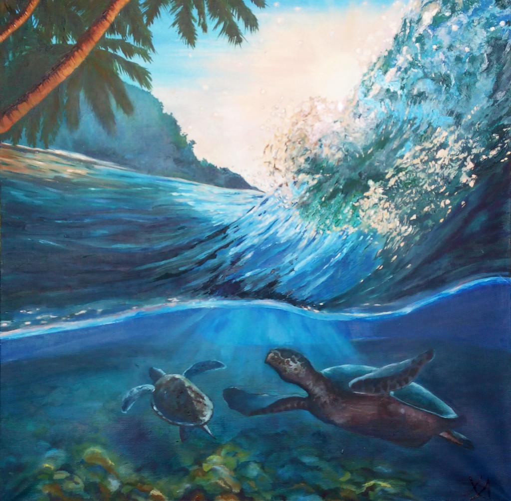черепахи волна море как рисовать воду морской пейзаж картина маслом пальмы брызги реалистичная живопись обучение уроки индивидуальные занятия