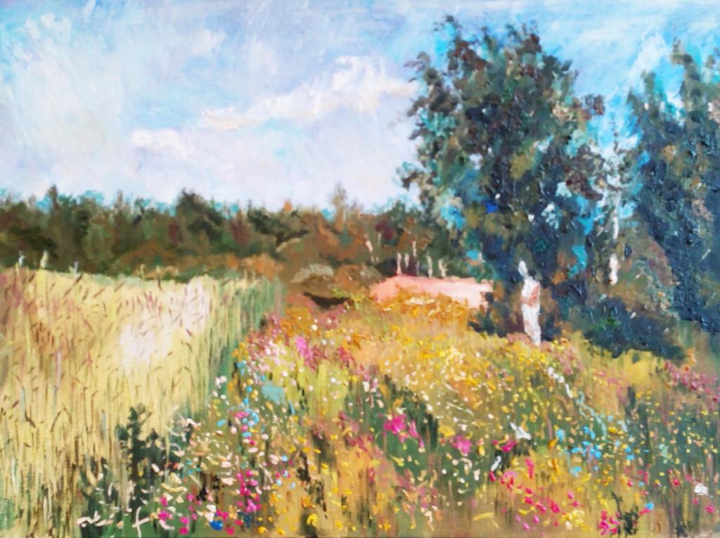 пейзаж копия левитан небо деревья поле облака цветы подарочные сертификаты алексей жуков самореализация достойное хобби рисование с нуля курсы живописи