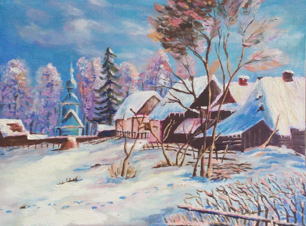 зима пейзаж деревня небо лес дома срубы избы сугробы как рисовать маслом поэтапно видеоуроки пособие рисование с нуля спб васильевский