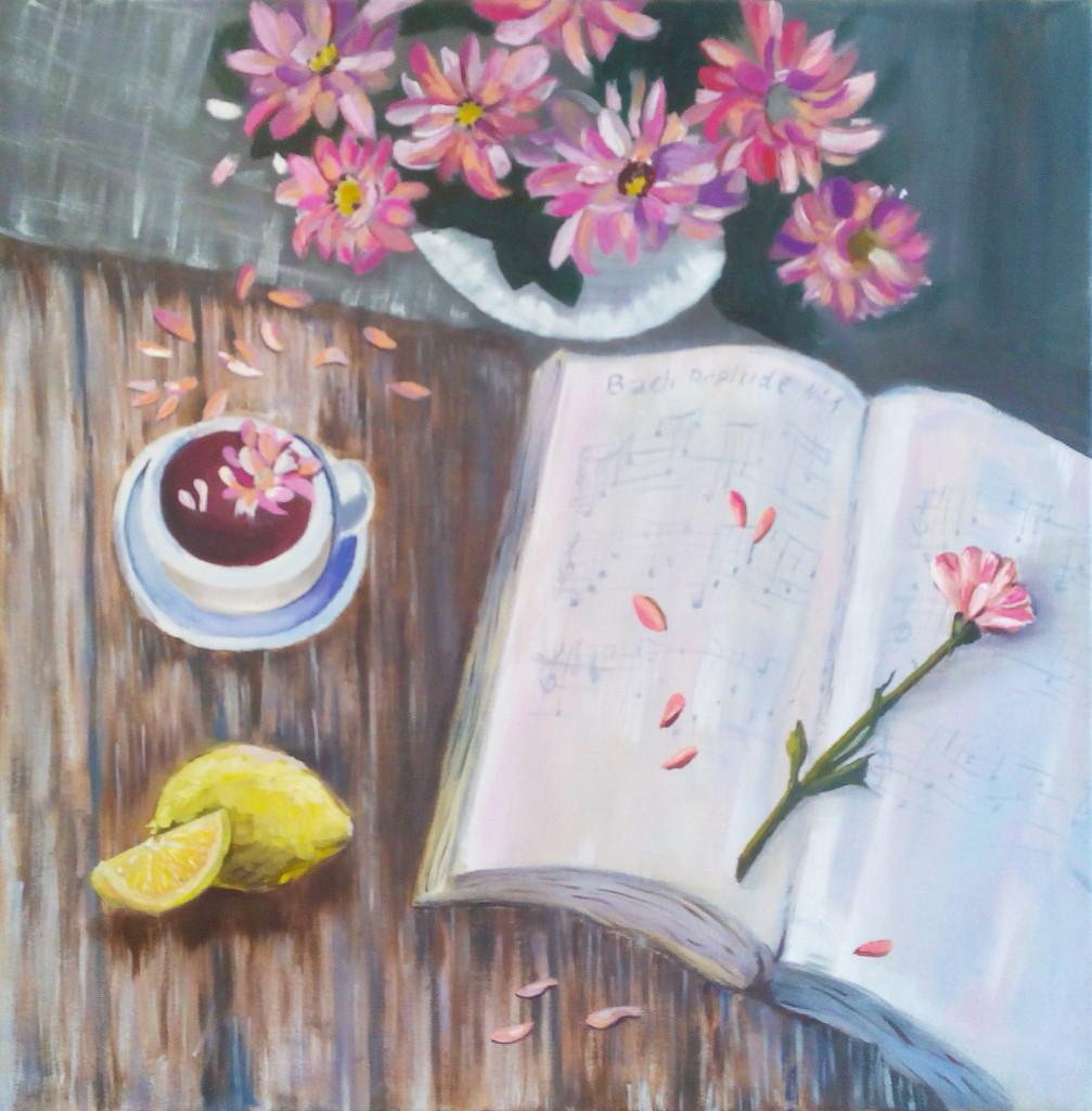 натюрморт лимон книга цветы ноты стол живопись маслом вдохновение картина в интерьер нарисовать картину в подарок своими руками обучение арт-студия курсы живописи