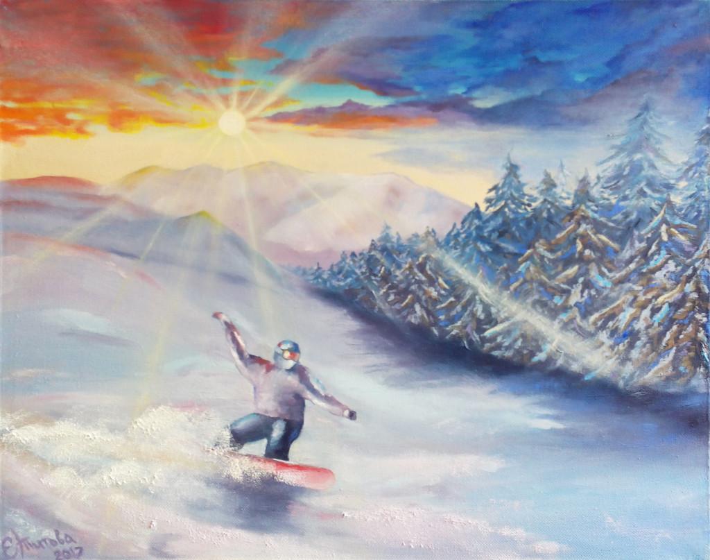 зима горы снег лес сноуборд зимние виды спорта неба облака солнце курсы живописи мини-группы рисование лучшие курсы спб