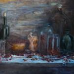 #натюрморт #стекло #ягоды #стакан #дерево #север #ложка #русский натюрморт