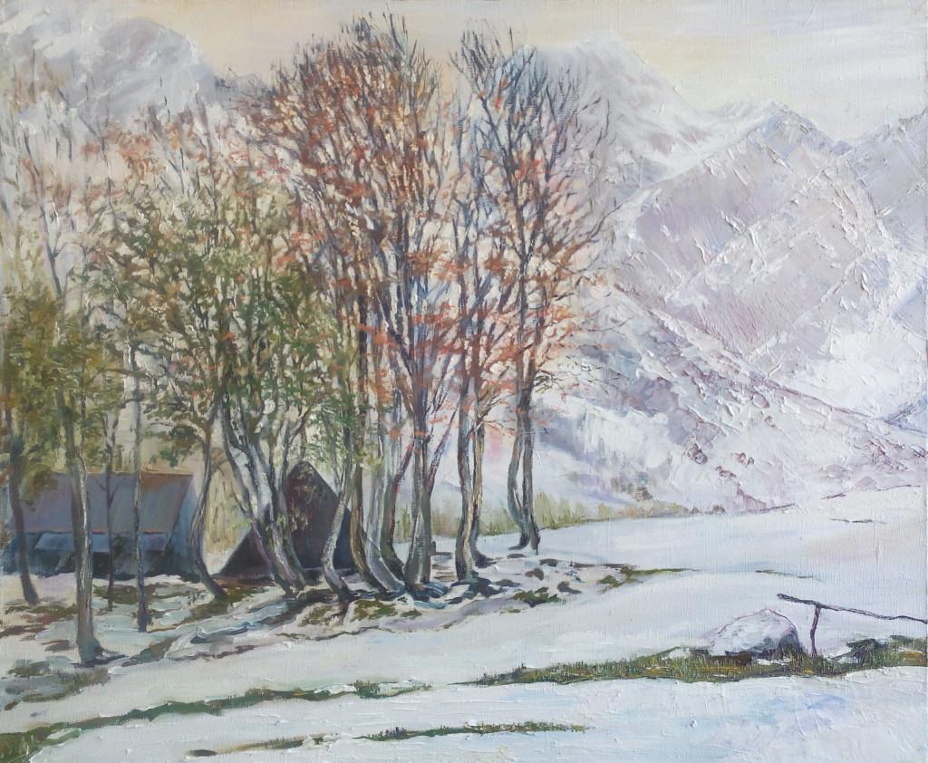 горы деревья кавказ пейзаж зима красиво природа туман небо как рисовать пейзаж маслом алексей жуков видеоуроки вебинары персональное обучение артмуза лофт музей галерея питер