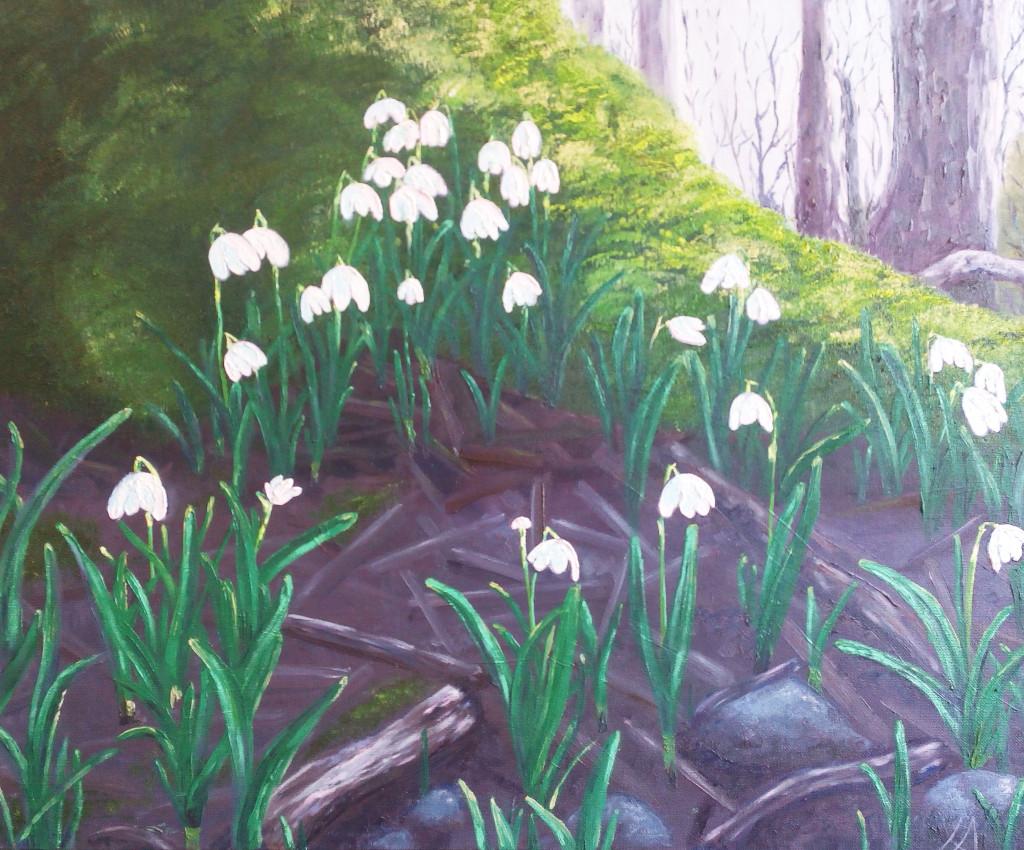 подснежники первые цветы весна картина маслом лес пейзаж вдохновение радость развитие творчество креатив искусство пойти рисовать мини-группы мастер-классы спб