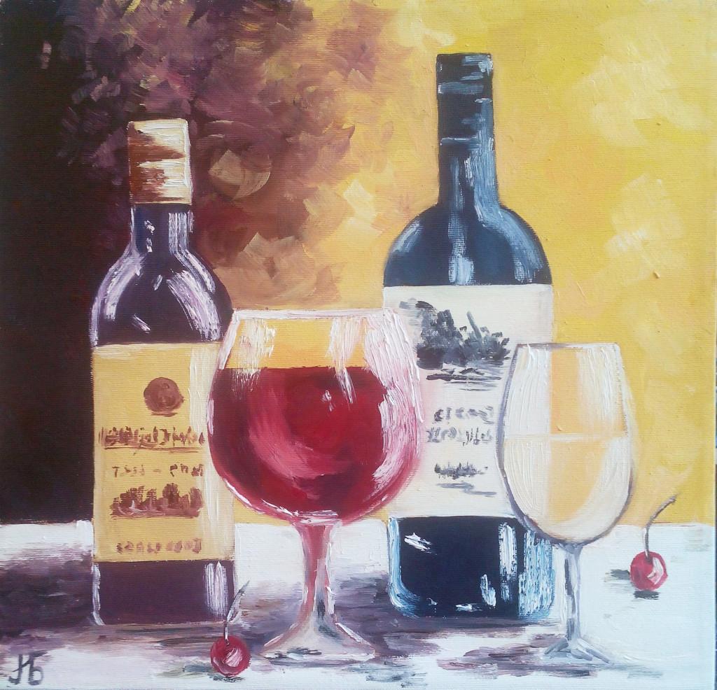 бутылки натюрморт бокалы вино вишня картина маслом обучение видеоуроки мини-группы пленеры мастер-классы петербург творческая мастерская на васильевском артмуза алексей жуков