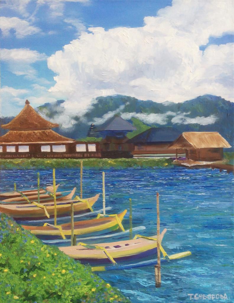 бали горы индонезия море лодки хижины облака небо как рисовать маслом уроки школа живописи арт-студия алексей жуков
