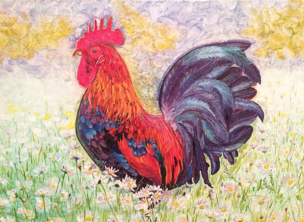 петушок год петуха огненный петух как рисовать животных картина маслом обучение с нуля развитие талант хобби искусство творчество артмуза мини-группы