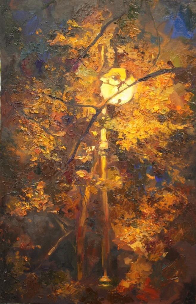 деревья ветки фонарь ночь яркая сочная картина живопись в интерьер современное искусство выставка арт-школа детские группы индивидуальные занятия спб
