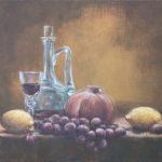 #натюрморт #фрукты #графин #бокал #авторская живопись #картина маслом #голландскийнатюрморт