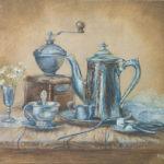 #натюрморт #посуда #картинамаслом #авторскаяживопись #голландскийнатюрморт #металл #кофе