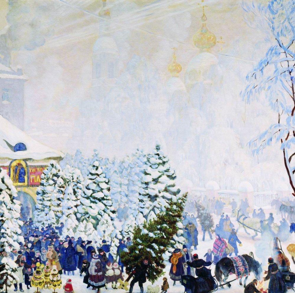Кустодиев Борис Михайлович (1878-1927). -Елочный торг- 1918