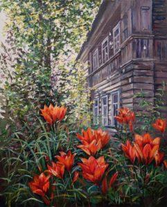 домик в деревне поместье дворянское гнездо лето дача садоводство деревня цветы лилии арт-студия курсы живописи хобби на всю жизнь