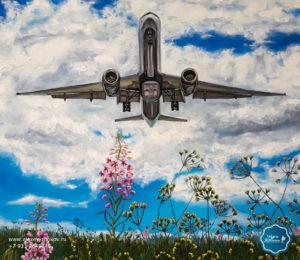 индивидуальное обучение картина самолет небо поле живопись маслом росписи портрет на заказ купить картину знаменитый художник современное искусство живопись спб