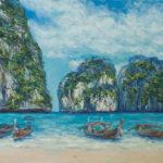 #тайланд, #пляж, #лодки, #волны, #гоа, #картинамаслом